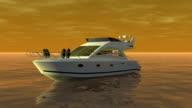 Boat on the orange sea video