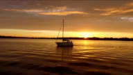 Boat on the river, sunset video