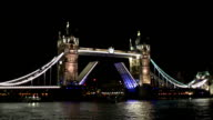 Boat passing through Tower Bridge, London video