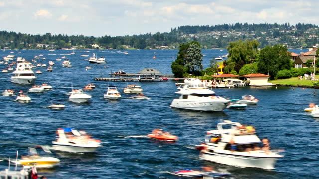 Boat Traffic Time Lapse Pan video