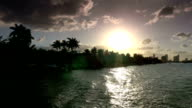 Boat trip around Miami Beach at sunset video
