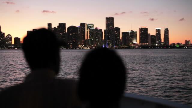 Boat Trip Miami Skyline at dusk video