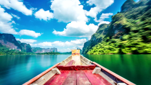 Boat trip on Ratchaprapha lake time lapse video