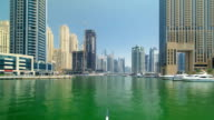 Boat trip on the ship-restaurant by the channel in Dubai Marina. Dubai, UAE timelapse hyperlapse part 1 video