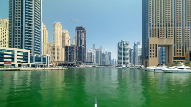 Boat trip on the ship-restaurant by the channel in Dubai Marina. Dubai, UAE timelapse hyperlapse part 1 video