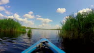 Boating on wide river, beautiful nature. Traveling, tourism, POV video