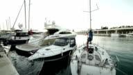 Boats and yachts at Malaga harbor video