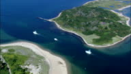 Boats In Great Salt Pond  - Aerial View - Rhode Island, Washington County, United States video