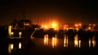 Boats In Harbor Night video