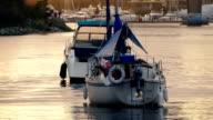 Boats In Pretty Evening Sunlight video