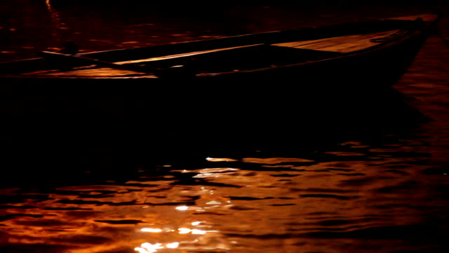 Boats in the beautiful light along the Varanasi Ghats along the Ganges River video