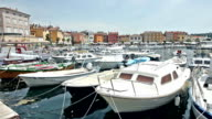 Boats moored in centre of Rovinj video