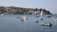 Boats on River Fowey Cornwall view to Polruan England uk video