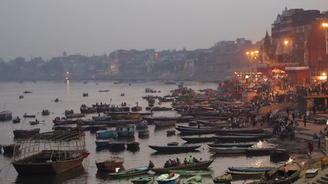 Boats on the Ganges River, Varanasi, Uttar Pradesh, India video