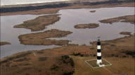 Bodie Island Lighthouse  - Aerial View - North Carolina,  Dare County,  United States video