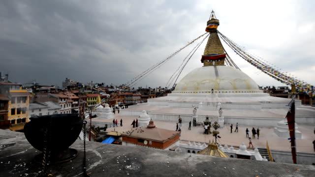 Bodnath Stupa with prayer smoke. video