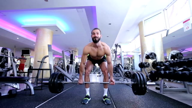 Body Builder performing heavy Dead Lift video