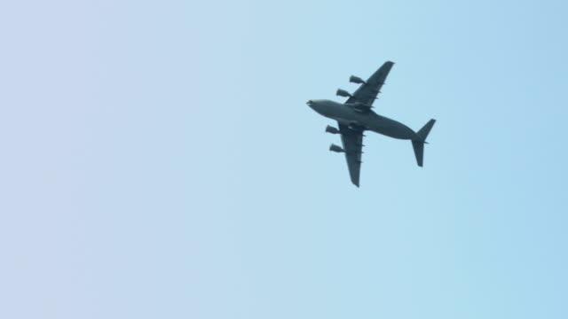 Boeing C-17 Globemaster transport plane in flight video