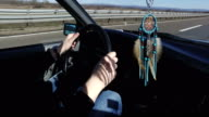 Boho style dream catcher in vintage car video