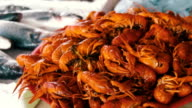 Boiled Red Crayfish on the Counter Fish Market video