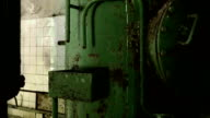 Boiler in the abandoned factory. Smooth and slow dolly shot. video