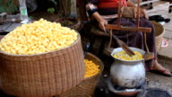 Boiling Silkworm Cocoons, Thailand. video