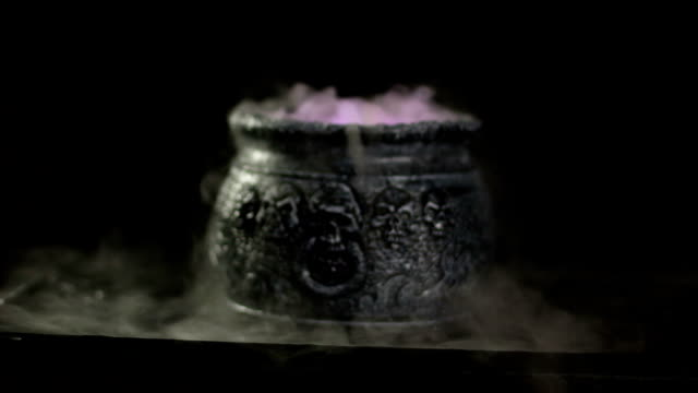 Boiling Witches Cauldron with mist / steam - DOLLY video