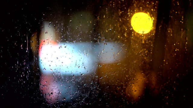 Bokeh Lights and Raindrops video