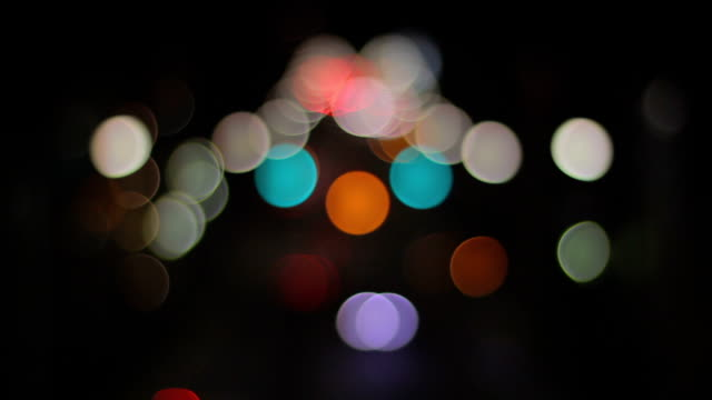Bokeh small size night at Tomigaya crossing middle shot video