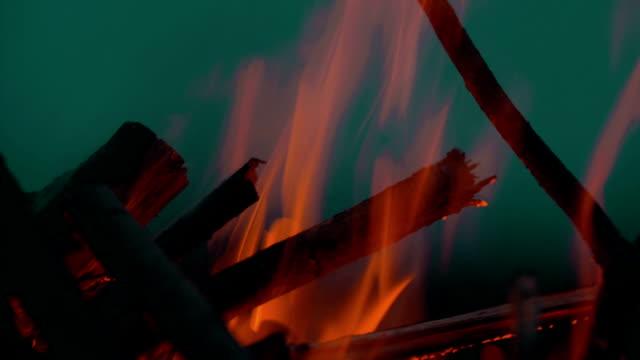 Bonfire Against Dark Night Sky video