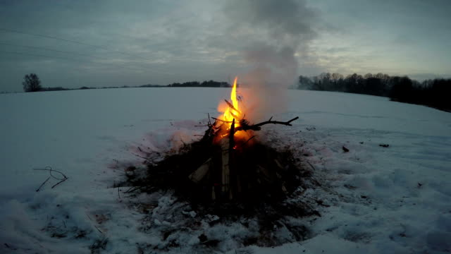 Bonfire burning in field video