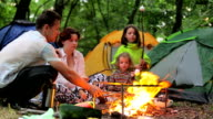 Bonfire night in a tent camp in the countryside video