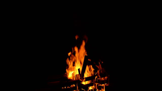 bonfire on the black background video