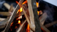Bonfire with a strong flame in form of a hut in which puts board in winter video