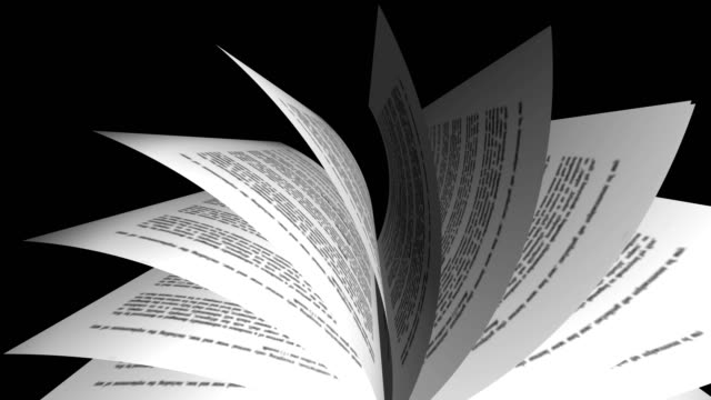 Book turning on black background animation. Education concept, front view video