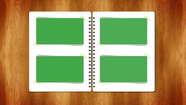 Book with Photos Polaroid Green Screen, Open / Close, Loop video