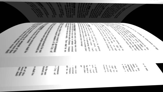 Book's page turning on black background. 4K Loopable animation video