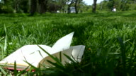 Book's pages turning in the park video