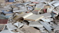 Books scattered on the floor of an abandoned school in Pripyat video