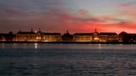 Bordeaux stock market place at sunset video