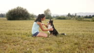 SLO MO Border Collie giving female owner high five video