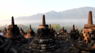 Borobudur temple during sunrise time video