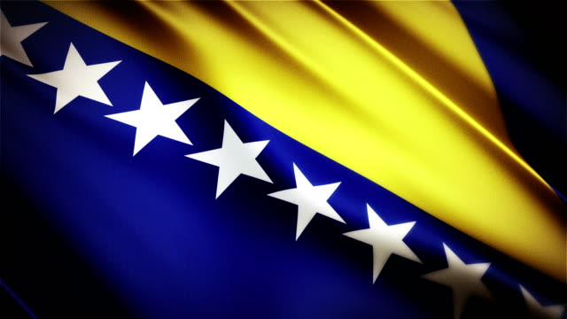 Bosnia and Herzegovina realistic national flag seamless looped waving animation video