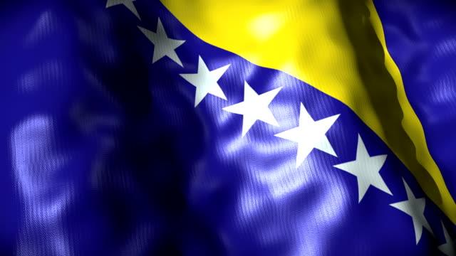 Bosnia Flag waving, looping video