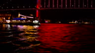 Bosphorus bridge at night video