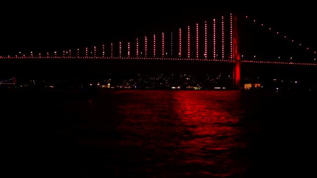 Bosphorus bridge at night video
