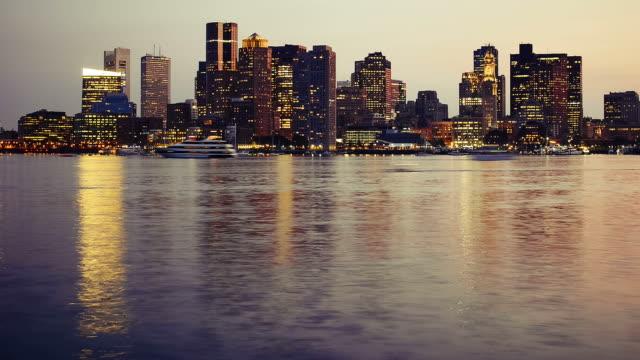 Boston skyline from sunset to night video