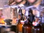 Bottle filling production line at beer factory video