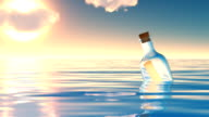 Bottle in ocean. video