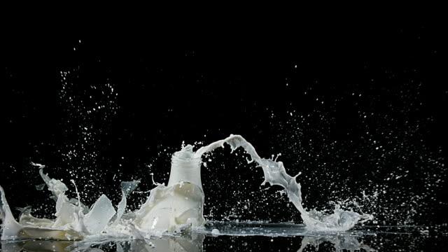 Bottle of Milk Falling and Exploging against Black Background, slow motion 4K video